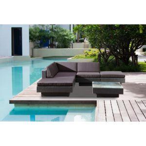 CONCEPT USINE - Amorgos gris : salon de jardin d\'angle en résine 4 ...