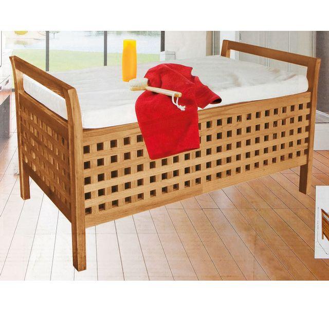 mendler banc banquette coffre de rangement en bois de noyer avec coussin pas cher achat. Black Bedroom Furniture Sets. Home Design Ideas