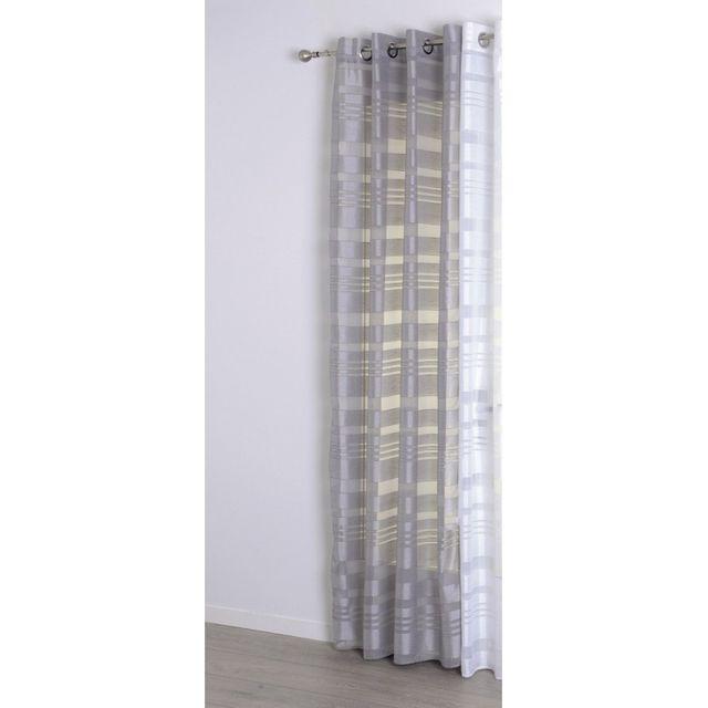 jja voilage bandes satin 140x240cm gris clair pas cher achat vente rideaux rueducommerce. Black Bedroom Furniture Sets. Home Design Ideas
