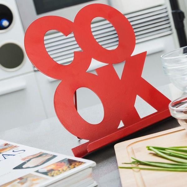 Totalcadeau Support de cahier de recettes Cook et pour livre de cuisine blanc