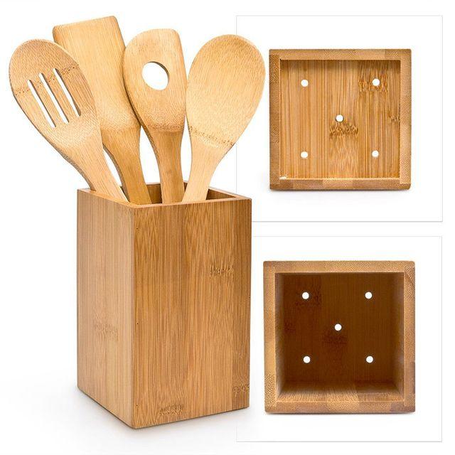 Touslescadeaux Ustensiles de Cuisine en Bambou - 5 pièces