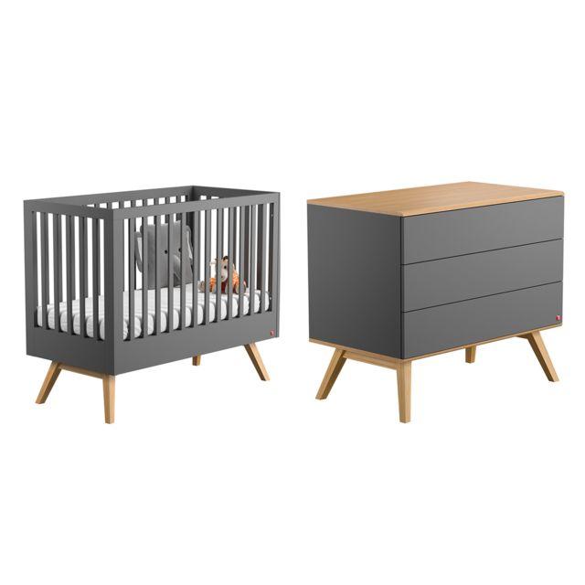 vox lit b b 60x120 et commode langer nature gris pas cher achat vente chambre enfant. Black Bedroom Furniture Sets. Home Design Ideas