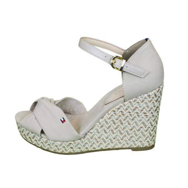 tommy hilfiger sandales compens es elena beige pour femme 41 pas cher achat vente. Black Bedroom Furniture Sets. Home Design Ideas