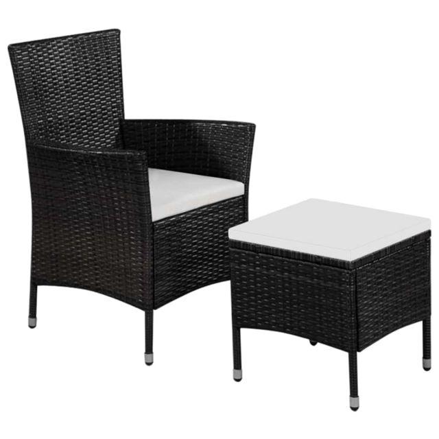 Vidaxl Chaise d'extérieur et tabouret Noir et blanc crème - Sièges d'extérieur - Chaises d'extérieur | Noir | Noir