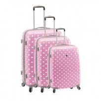 Madison - Madisson Bagage Lot de 3 valises - 4 Roues - Polycarbonate - Pois - Rose