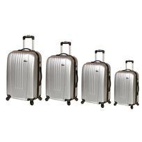 Travel's - Set de 4 Valises Rigide Abs 4 Roues 46-51-61-71cm New Oceania Gris Clair