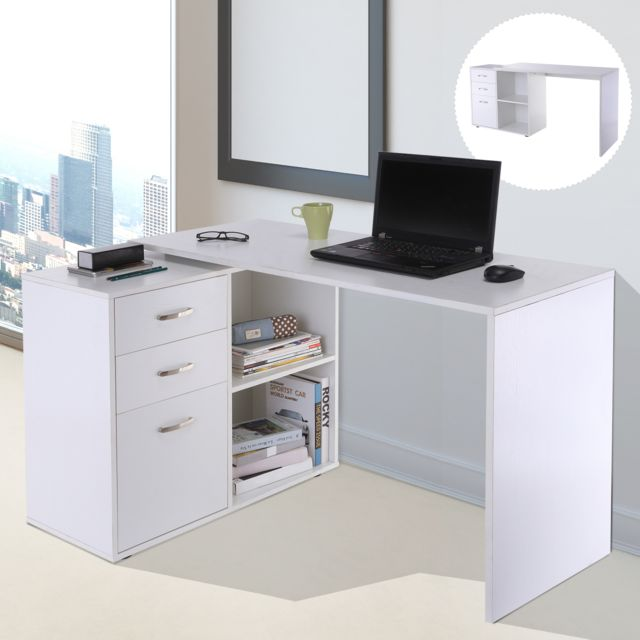 Bureau D Angle Bureau Droit Modulable 2 En 1 Bureau Informatique Tiroirs X 3 2 Niches Mdf Blanc