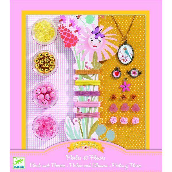 Djeco Perles Au bonheur des filles : Oh! les perles Perles et fleurs