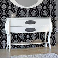 Stylo - Meuble sur pieds 120cm 2 tiroirs Classic Blanc + vasque céramique