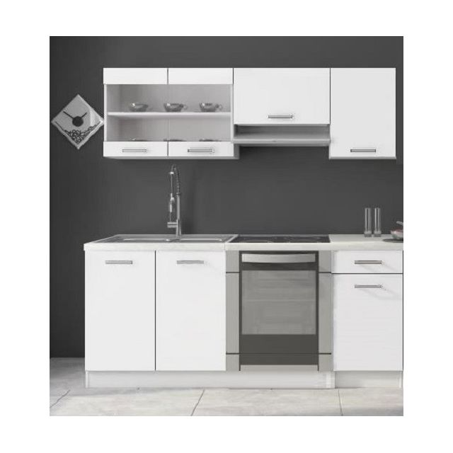 Cuisine Dana blanc laqué - 1m80 - 6 meubles