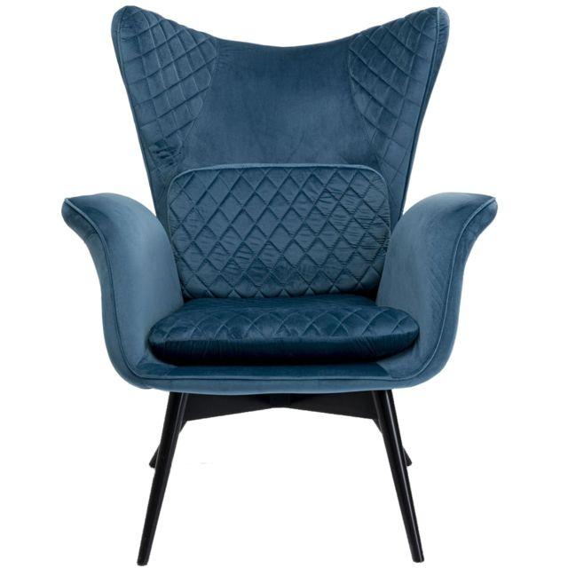 Karedesign Fauteuil Tudor velours bleu pétrole Kare Design