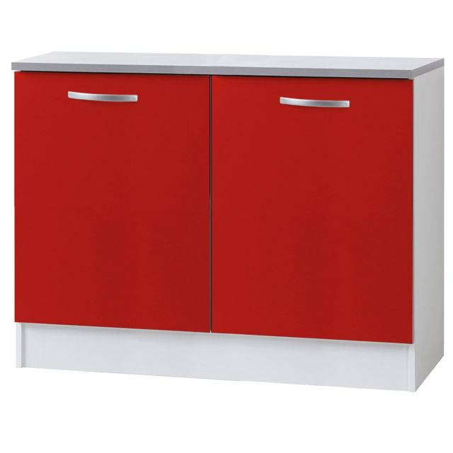 Paris prix meuble bas 2 portes 120cm smarty rouge for Meuble a bas prix