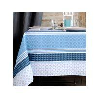 Stof - Nappe 100% coton enduit antitache rayures motifs géométriques rosaces Soccoa - Bleu - Bleu