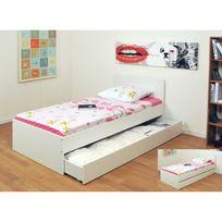 - Lit 1 personne avec tiroir et tête de lit en bois Nathan