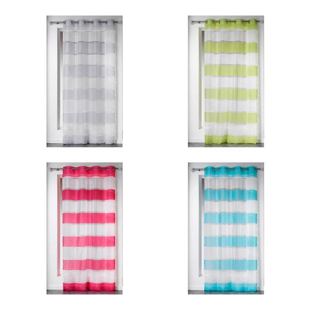 sans marque rideau voile oeillets 140 x 240 cm samoa rayures vert pas cher achat. Black Bedroom Furniture Sets. Home Design Ideas