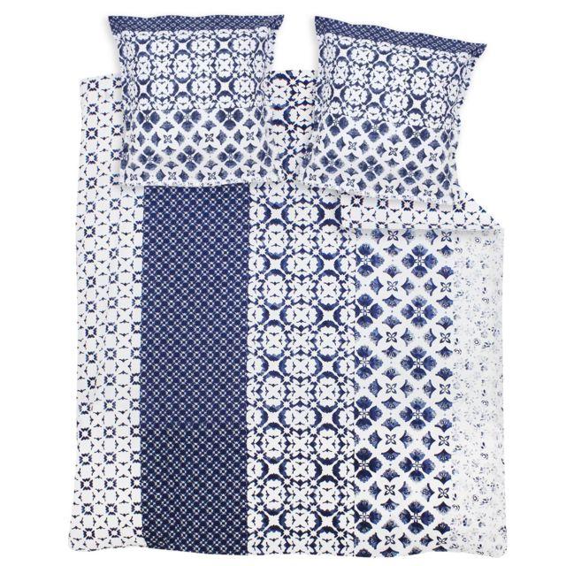 Parure de lit 260x240 cm 100/% Coton Kimono Bleu Paon 3 pi/èces avec Impression fix/é-lav/é