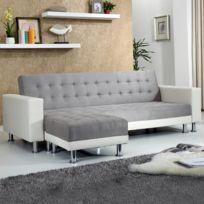Concept Usine - Apollon Gris/Blanc : Canapé convertible + Pouf