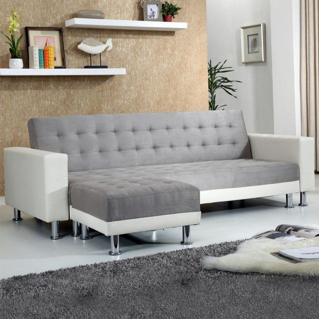concept usine apollon gris blanc canap convertible pouf 95cm x 189cm x 77cm achat vente. Black Bedroom Furniture Sets. Home Design Ideas