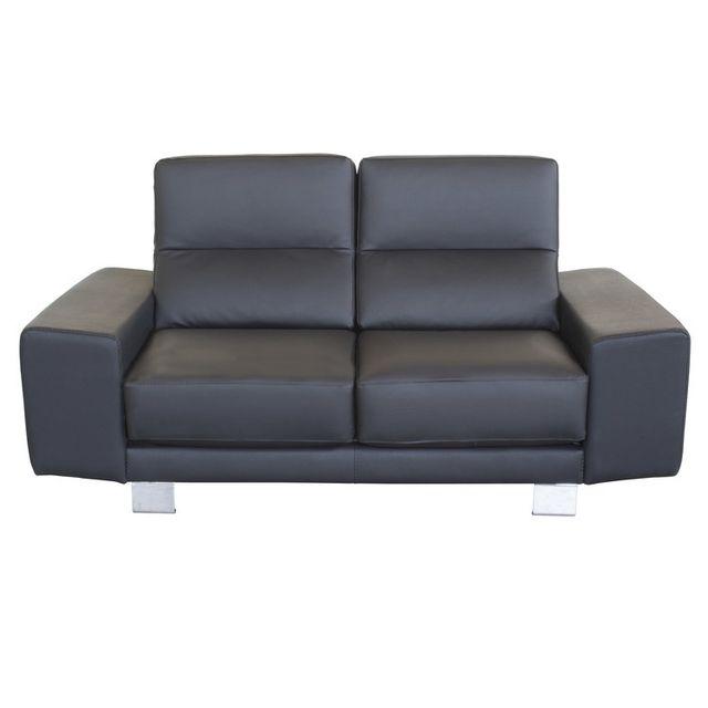 Exceptionnel Coussin D Assise Pour Canape #15: Kaligrafik - Canapé Fixe En Cuir Avec Coussins Du0027assise Et De Dos  Déhoussables Keyra