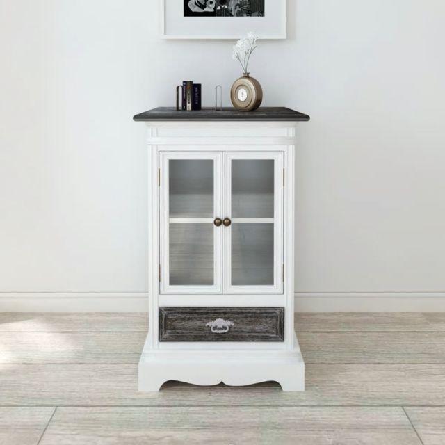 Vidaxl Armoire 2 portes et 1 tiroir Blanc Bois   Blanc