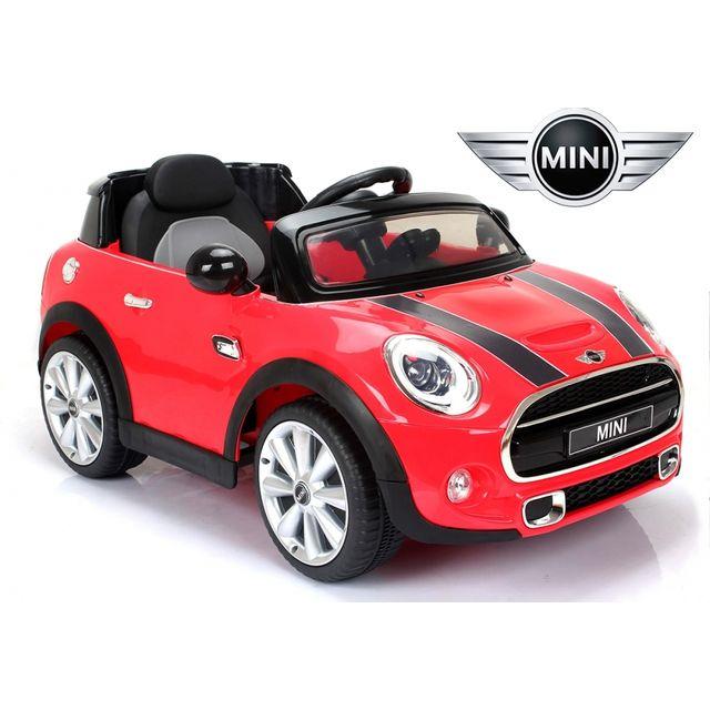 mini voiture lectrique enfant 12v cooper s avec radio fm rouge pas cher achat vente. Black Bedroom Furniture Sets. Home Design Ideas