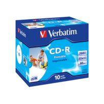 Verbatim - 10 x Cd-r - 700 Mo 80 min , 52x - surface imprimable par jet d'encre, surface imprimable large - boîtier Cd