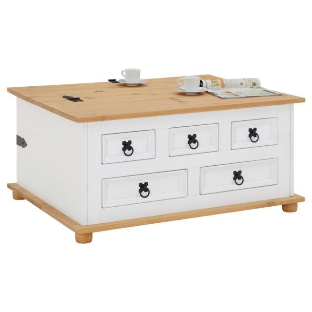 IDIMEX Table basse de salon TEQUILA coffre malle de rangement rectangulaire en bois style mexicain 5 tiroirs pin massif lasuré