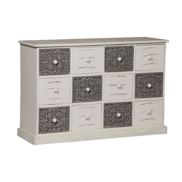 MENZZO Commode 12 Tiroirs Changmay Bois Gris Et Blanc