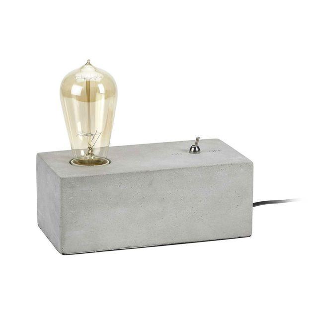 Mathias - Lampe à poser rétro rectangle en béton hauteur 9cm Gypse Gris - 0cm x 0cm x 0cm