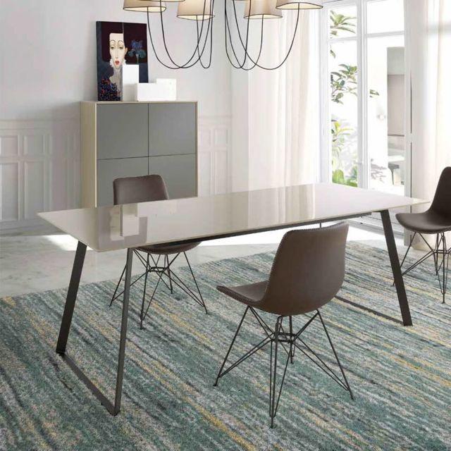 Nouvomeuble Table à manger design taupe et noire Maite