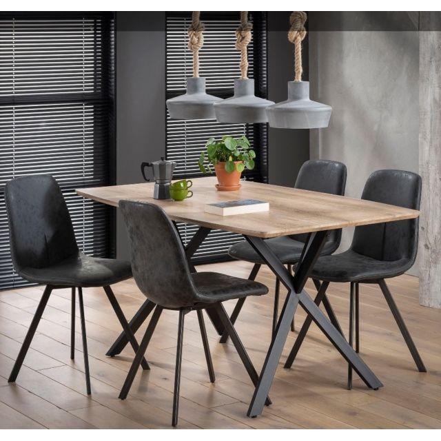Inside 75 Table repas Bash design chêne avec piétement en acier