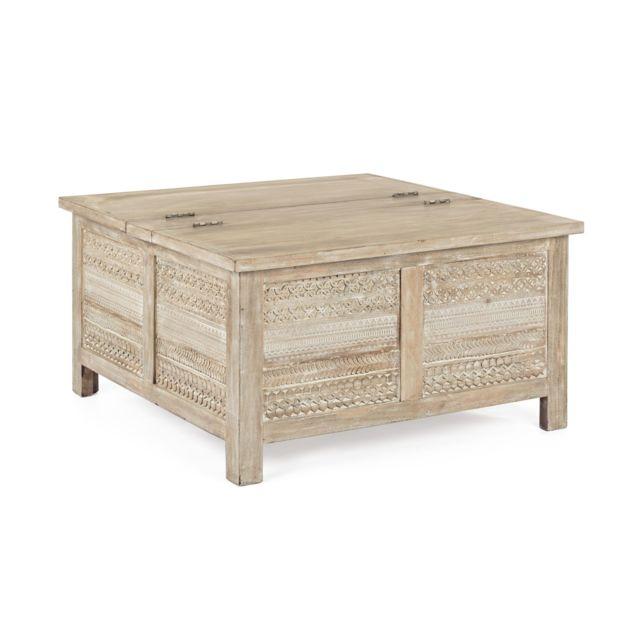 HELLIN Table basse carrée coffre - MAYA
