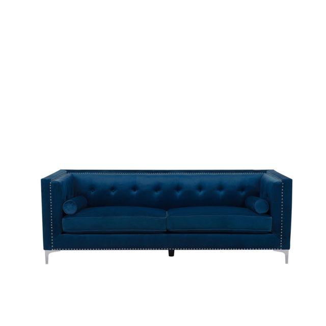 BELIANI Canapé en velours bleu marine AVALDSENES