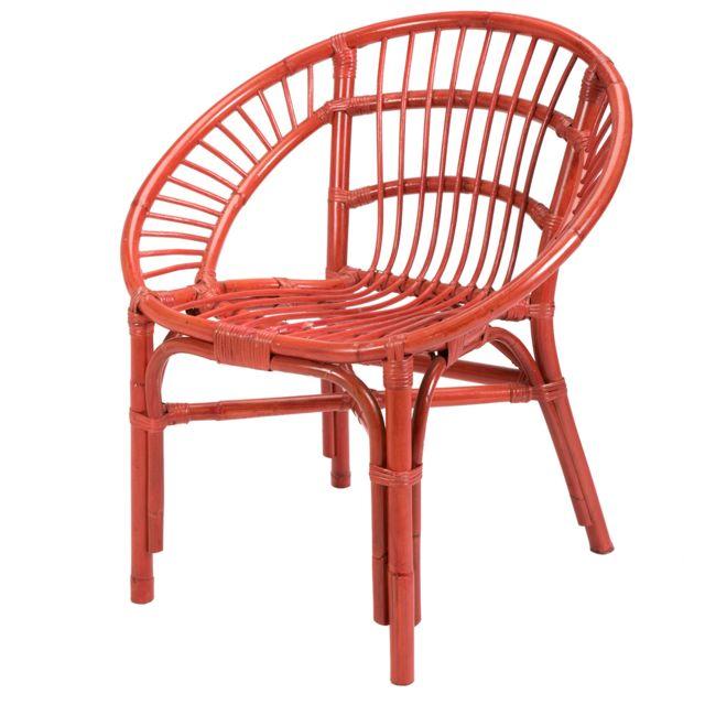 Rotin-design Soldes: -42% Fauteuil en rotin rouge Lerida - Rotin Design