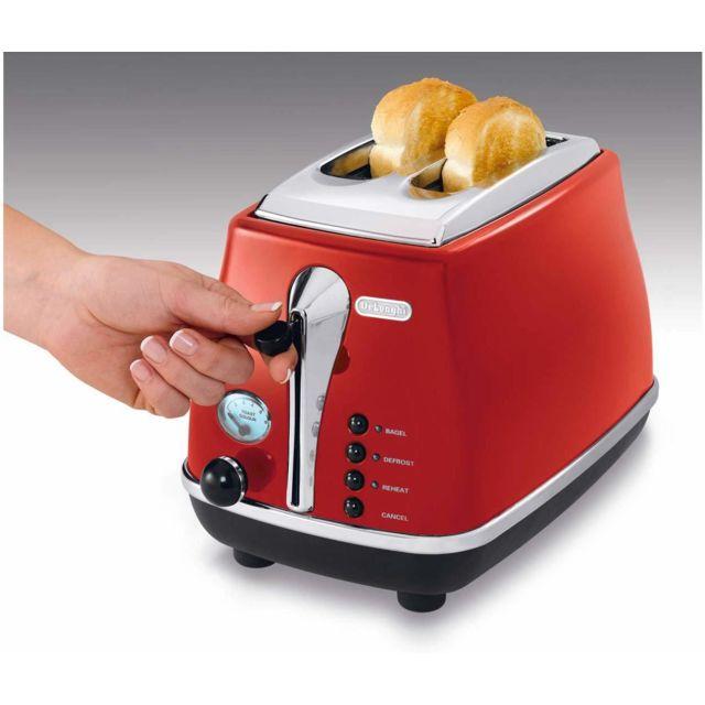 Delonghi grille pain avec 2 fentes 900W rouge