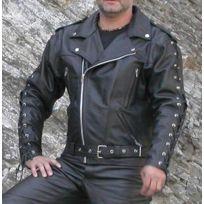 Karno-motorsport - Kc020 Blouson cuir noir Perfecto Karno à lacets doublure  et protections Moto 189b4971e94