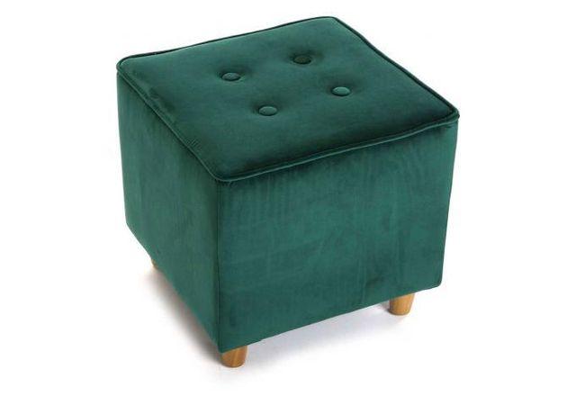 Declikdeco Avec sa forme géométrique, le Tabouret Capitonné Carré Impression Velours Vert Apatite s'associera à tous les styles de