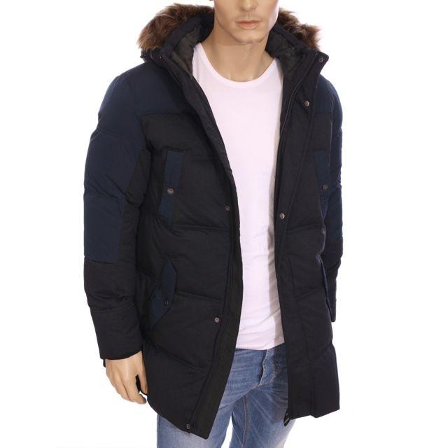 Armani - Ea7 - Emporio - Doudoune 3 4 bleu marine hiver 2016 271302 5A376 -  pas cher Achat   Vente Blouson homme - RueDuCommerce ca22e47e705