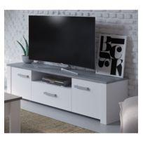Demeyere - Meuble Tv Tennesse 2 portes + 1 tiroirs blanc perle/ béton woodcorn
