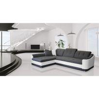 Chloe Design - Canapé d'angle convertible Bary - gris et blanc - Angle gauche