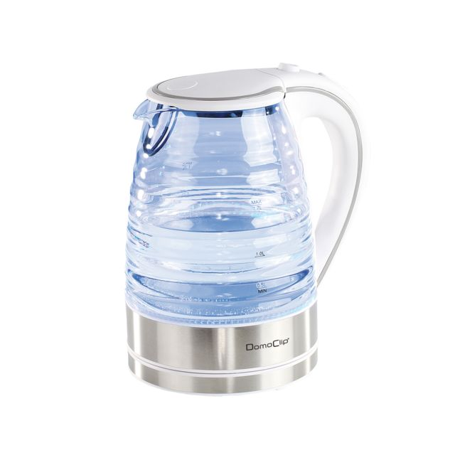 DOMOCLIP Bouilloire en verre 1,7 L blanche DOD128W