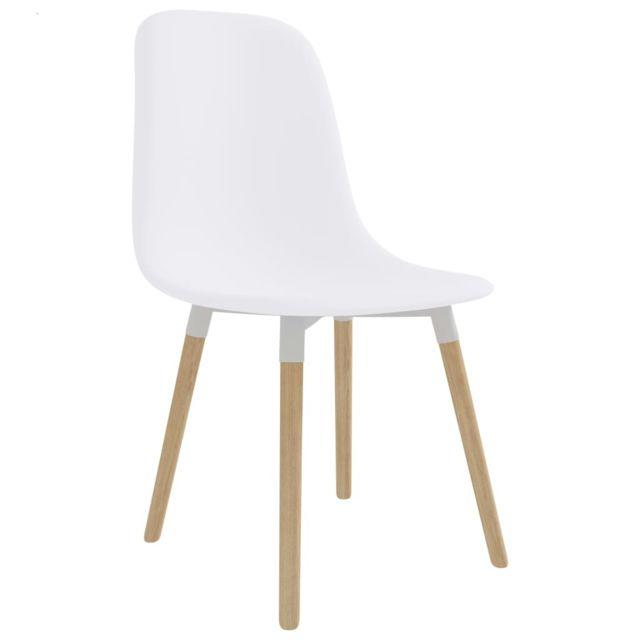 Icaverne Chaises de cuisine gamme Chaises de salle à manger 2 pcs Blanc Plastique