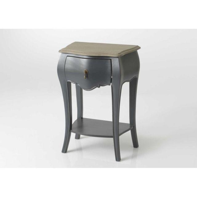 Table de nuit baroque grise et bois