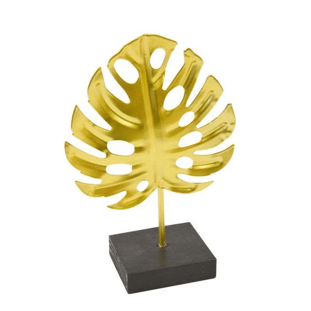 Visiodirect Lot de 6 Centres de table feuille tropicale en métal doré sur socle - 15 x 10 cm