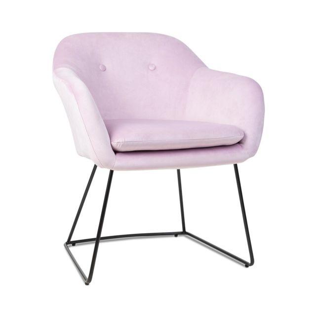 BESOA Zoe Chaise design rétro rembourrée de mousse - Pieds en acier - Revêtement en polyester velours rose