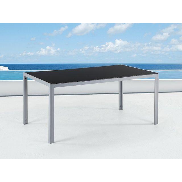 Beliani Table de jardin aluminium - plateau en verre 160 cm - Catania