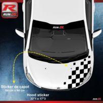 Run-R Stickers - Sticker capot pour Peugeot 208 207 et 206 damier - Noir - Adnauto