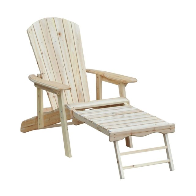 OUTSUNNY Fauteuil de jardin Adirondack chaise longue inclinable dossier réglable repose-pieds pliable bois de pin neuf 67
