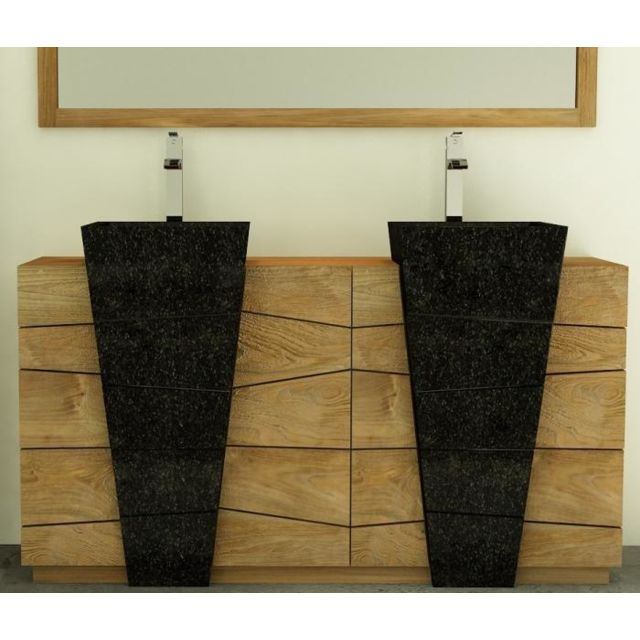 Walk - Meuble de salle de bain rhodes vasque noire l160 en teck - 3 ...