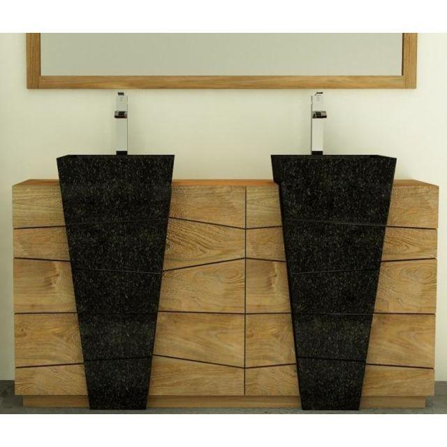 Meuble de salle de bain rhodes vasque noire l160 en teck - 3 portes